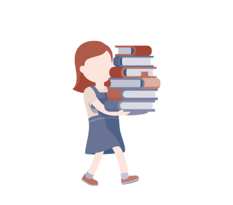 1,357,495 Library loans. Illustration of girl carrying library books