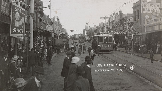 New electric (tram) cars. Elsternwick. November 1913. Image courtesy State Library of Victoria.