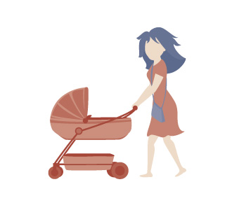 16,476 Maternal and Child Health Key Ages and Stages visits. Illustration of a pram