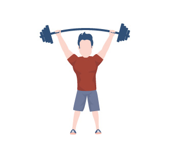 1.5 million Glen Eira Sports and Aquatic Centre annual visits. Illustration of a person in lifting weights