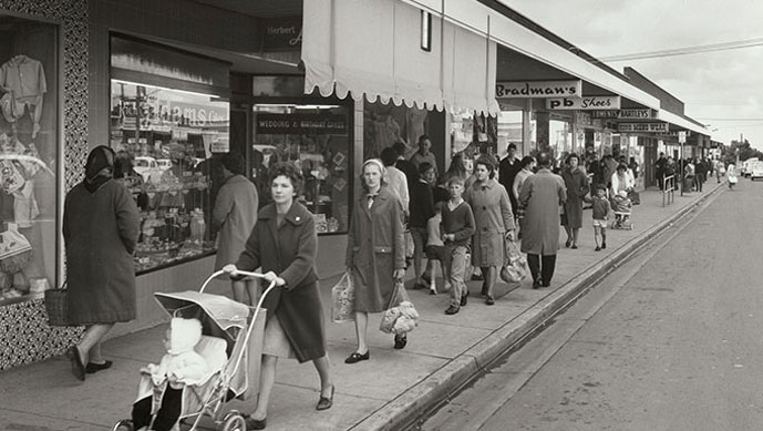 People shopping in Centre Road, Bentleigh. Wolfgang Sievers, 1967. Image © Pictures Collection, State Library of Victoria.